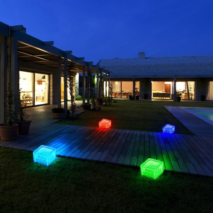 Set of 4 RGB LED Solar Lamps Outdoor Lamps Glass Stone Cube Decoration HARMS 504082 – Bild 4