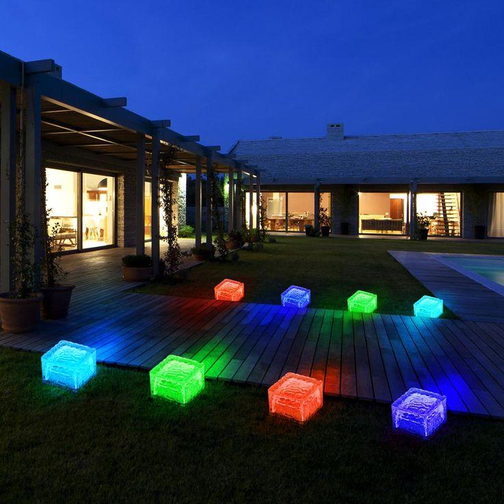 4er Set RGB LED Solar Leuchten Steh Lampen Außen Bereich Glas Stein Würfel Dekoration HARMS 504082 – Bild 11