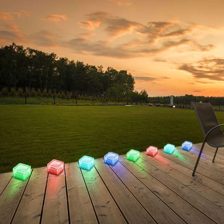 4er Set RGB LED Solar Leuchten Steh Lampen Außen Bereich Glas Stein Würfel Dekoration HARMS 504082 – Bild 12