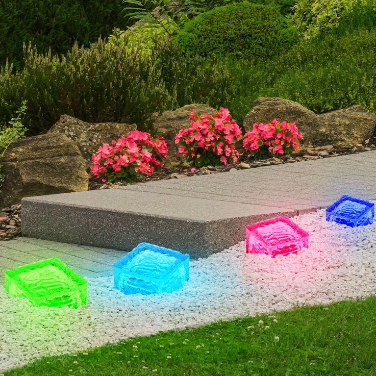 Set of 4 RGB LED Solar Lamps Outdoor Lamps Glass Stone Cube Decoration HARMS 504082 – Bild 5