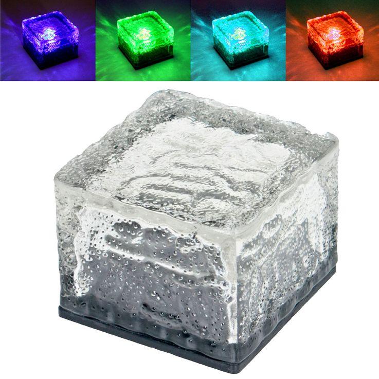 4er Set RGB LED Solar Leuchten Steh Lampen Außen Bereich Glas Stein Würfel Dekoration HARMS 504082 – Bild 1