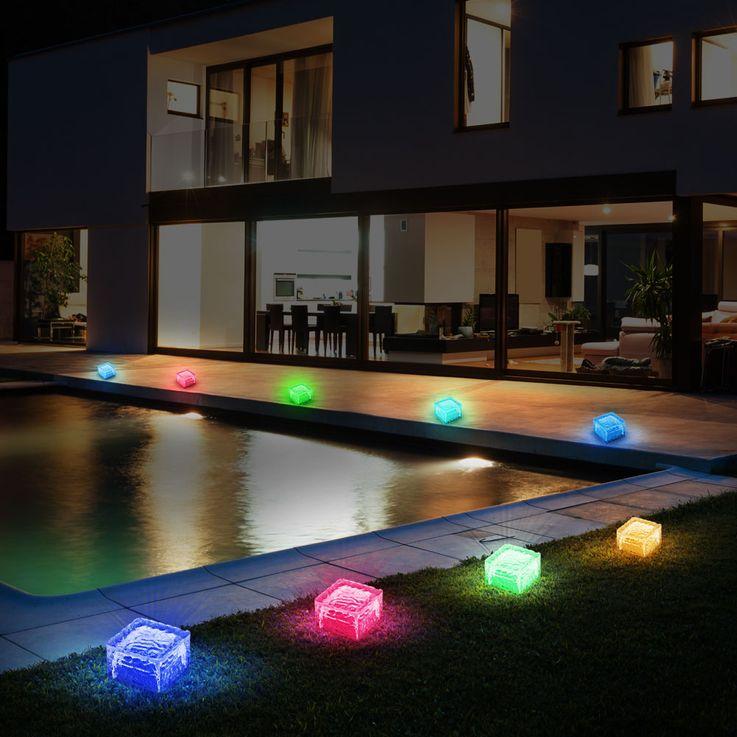 4er Set RGB LED Solar Leuchten Steh Lampen Außen Bereich Glas Stein Würfel Dekoration HARMS 504082 – Bild 8