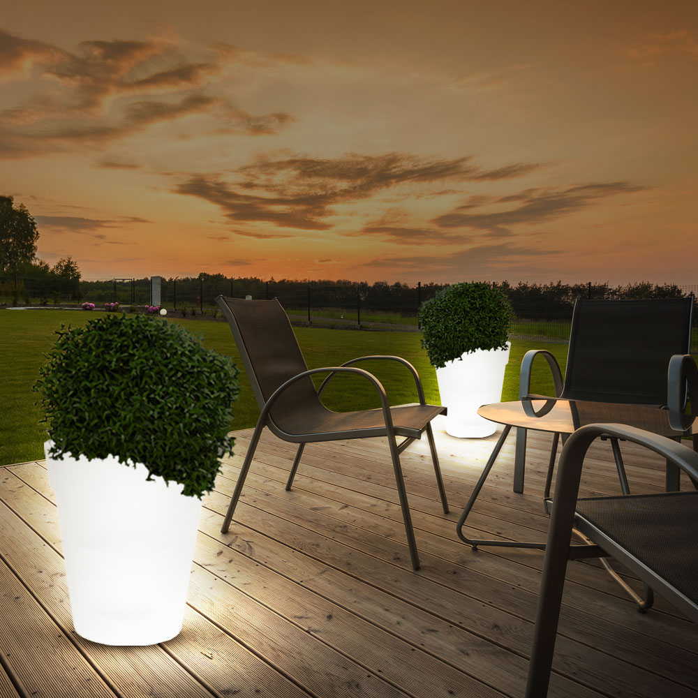 2er set led solar leuchten terrasse blumen t pfe au en deko garten beleuchtungen ebay. Black Bedroom Furniture Sets. Home Design Ideas