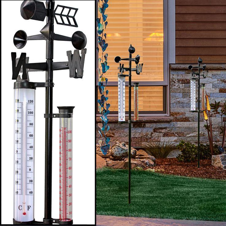 2er Set Außen Wetter Stationen Thermometer Windmesser Niederschlag Messung Windrichtung Anzeige – Bild 2
