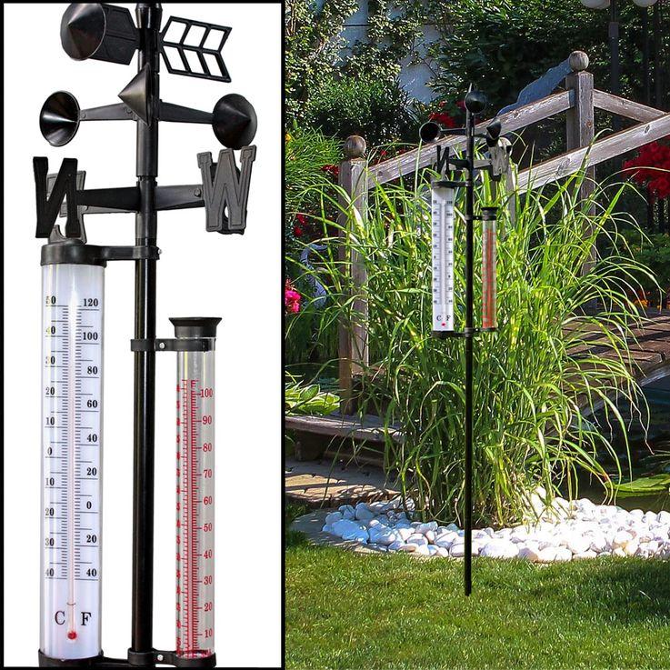 2er Set Außen Wetter Stationen Thermometer Windmesser Niederschlag Messung Windrichtung Anzeige – Bild 3