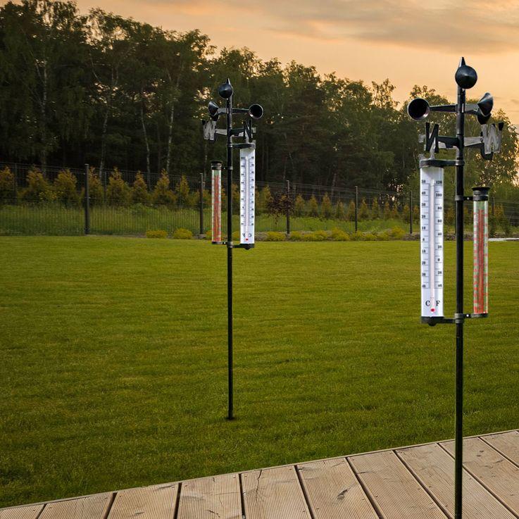 2er Set Außen Wetter Stationen Thermometer Windmesser Niederschlag Messung Windrichtung Anzeige – Bild 4