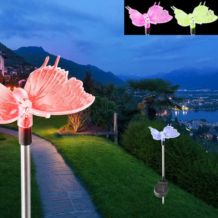 12er Set LED Solarlampen in Schmetterling und Libellen Optik – Bild 5