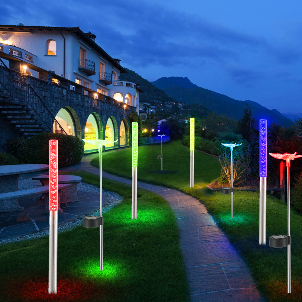 8er set rgb led solar lampen schmetterlings garten steck. Black Bedroom Furniture Sets. Home Design Ideas