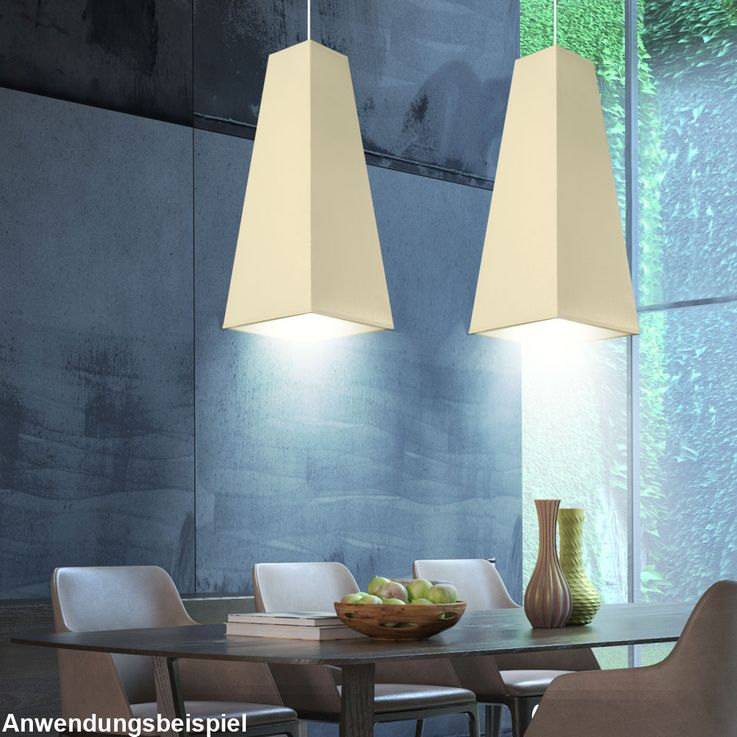 LED Pendellampe in creme for your living room PIRAMIDE – Bild 2