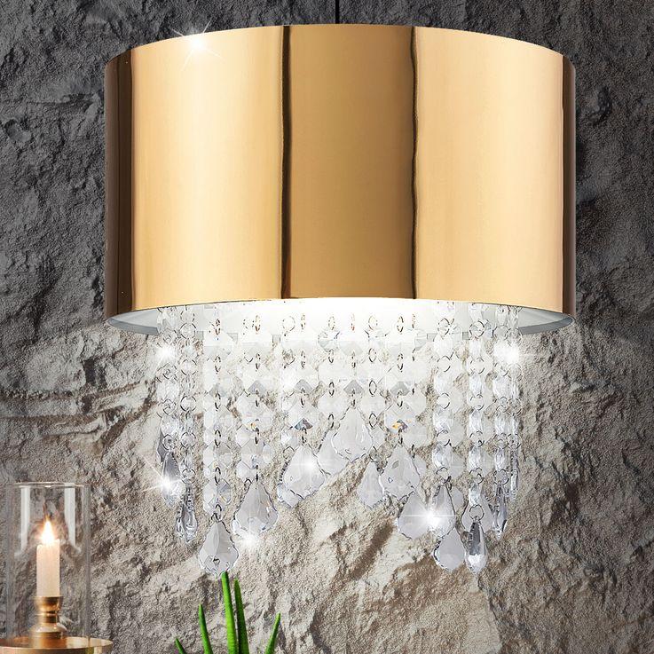 Conception lustre Goldfarbig salon salle à manger éclairage pendentif en cristal de plafond lumière autour – Bild 3