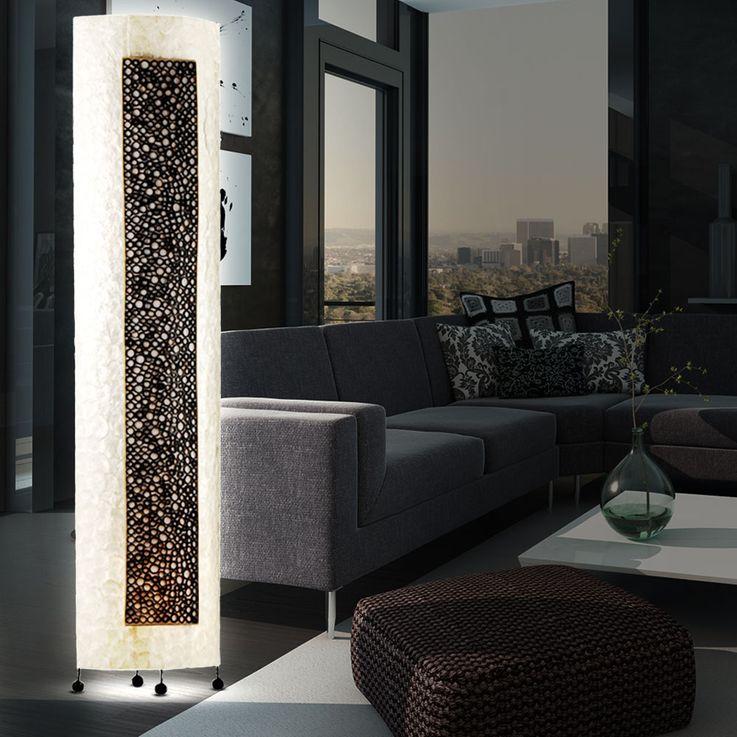 Hochwertige Steh Leuchte Stand Lampe Perlmutt Bambus Ringe Beleuchtung E27 Paul Neuhaus 1911 – Bild 5