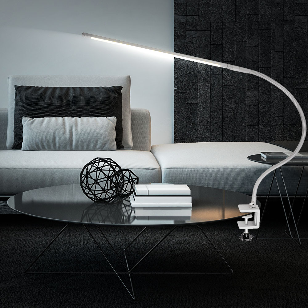 led tisch klemm leuchte lese schlafzimmer lampe flexo silber verstellbar eek a ebay. Black Bedroom Furniture Sets. Home Design Ideas