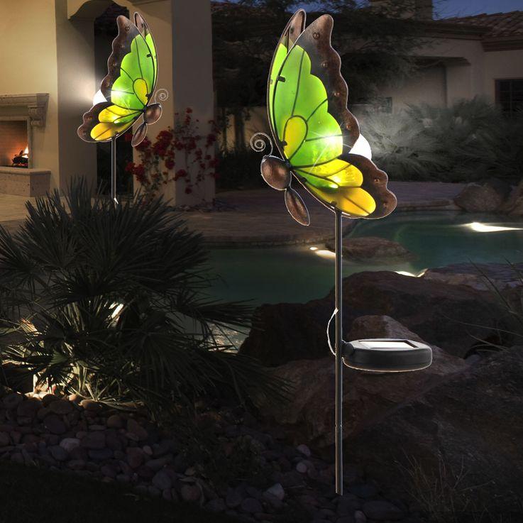 Lampe solaire LED luminaire extérieur jardin terrasse éclairage DEL verre papillon – Bild 6
