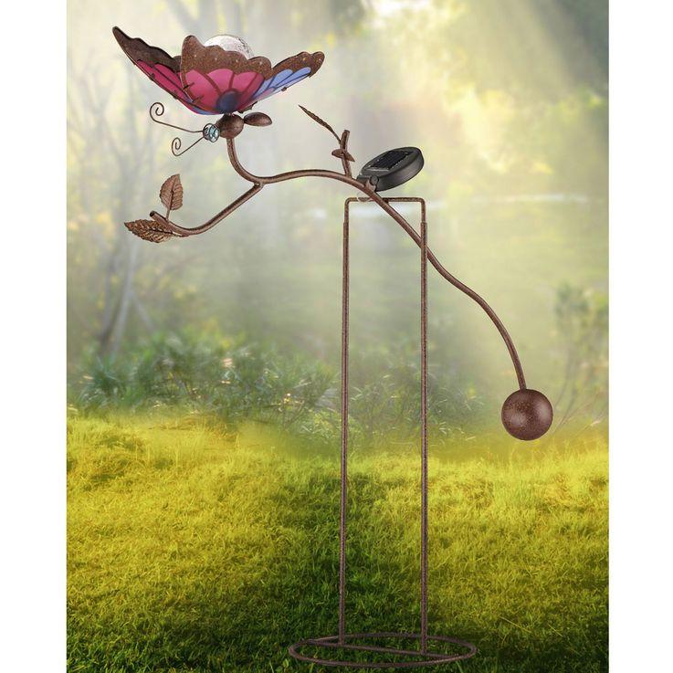 Lampe solaire LED papillon luminaire extérieur jardin terrasse métal verre éclairage DEL – Bild 4