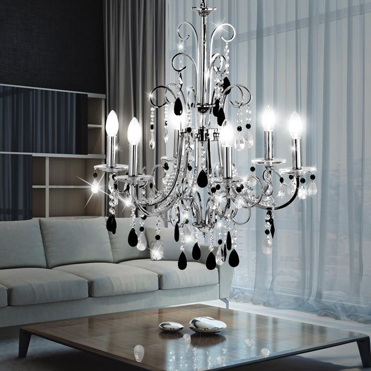 Luxury pendant lamp chandelier living room chrome crystal pendant lamp Paul Neuhaus 2104-17 – Bild 2