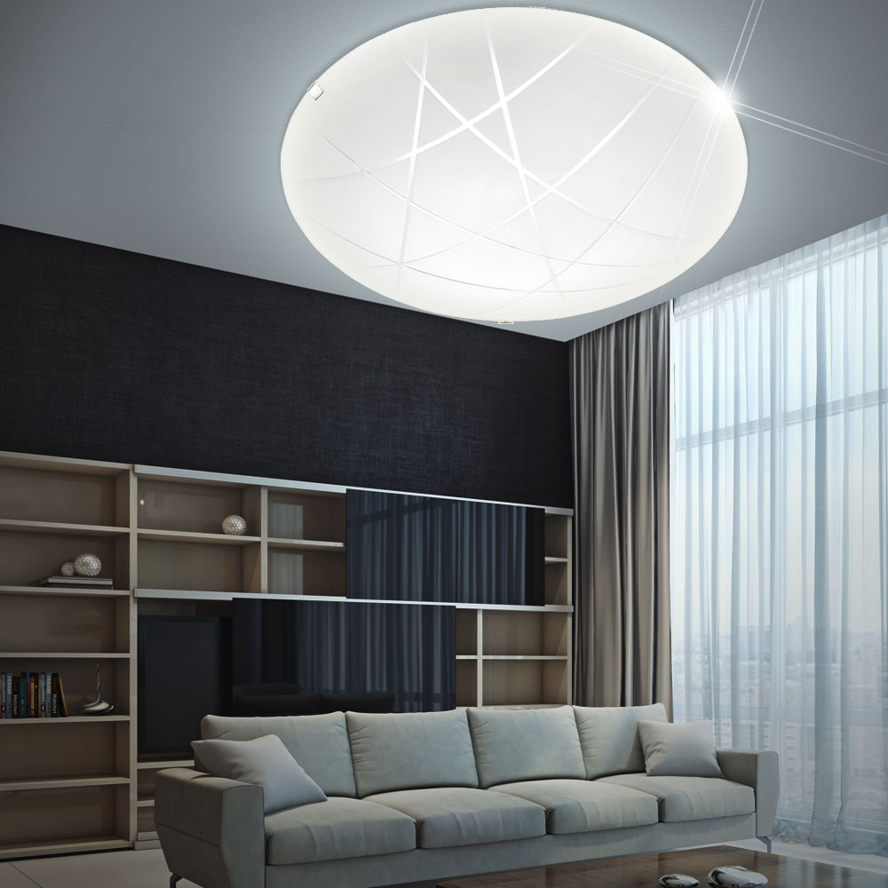 led decken lampe rund glas satiniert d 30 cm wohn zimmer beleuchtung dimmbar ebay. Black Bedroom Furniture Sets. Home Design Ideas