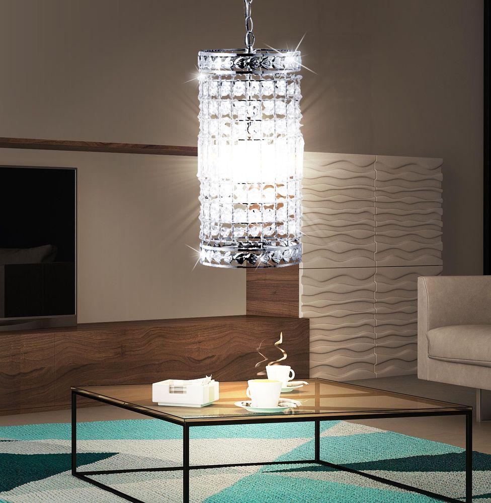 pendellampe aus metall mit kristallen f r den wohnraum. Black Bedroom Furniture Sets. Home Design Ideas