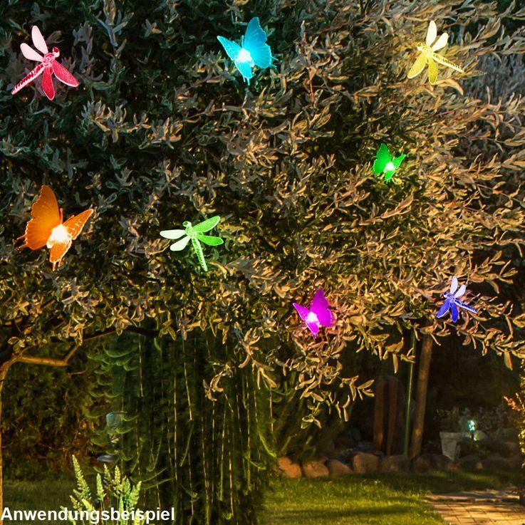2er Set RGB LED Solar Lampen Schmetterling Steck Leuchte Garten Deko Erdspieß Libelle HARMS 504300 – Bild 2