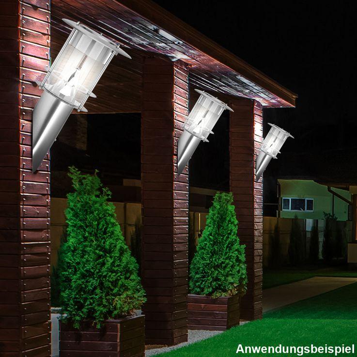 Robuste LED Edelstahl Solar Außen Lampe Terrassen Wand Akzent Leuchte Akku silber BTR BT1012 – Bild 2