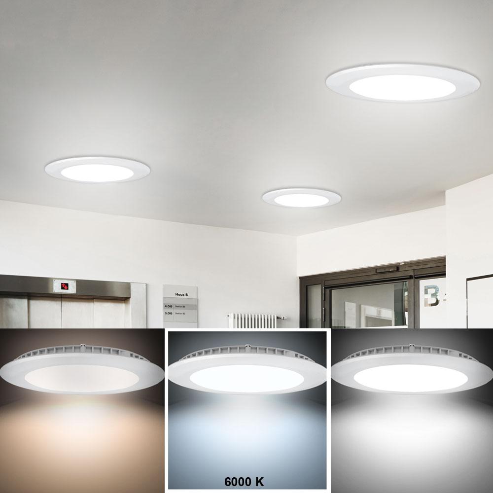 2x led einbau leuchten decken panel strahler wohnraum alu lampen tages licht ebay. Black Bedroom Furniture Sets. Home Design Ideas