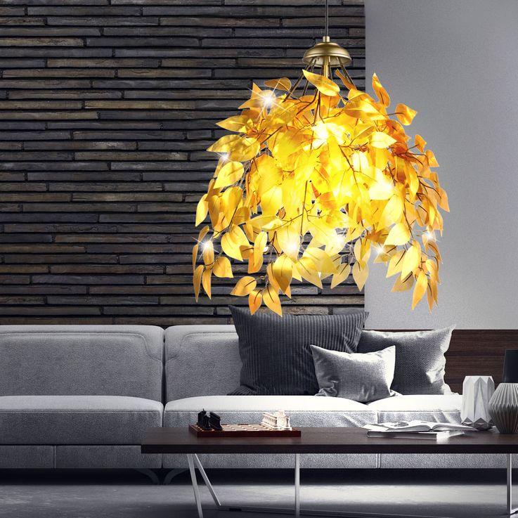 Pendel Lampe Blätter Äste Design gold-färbig Wohn Ess Zimmer Decken Hänge Beleuchtung Globo 15059G – Bild 7