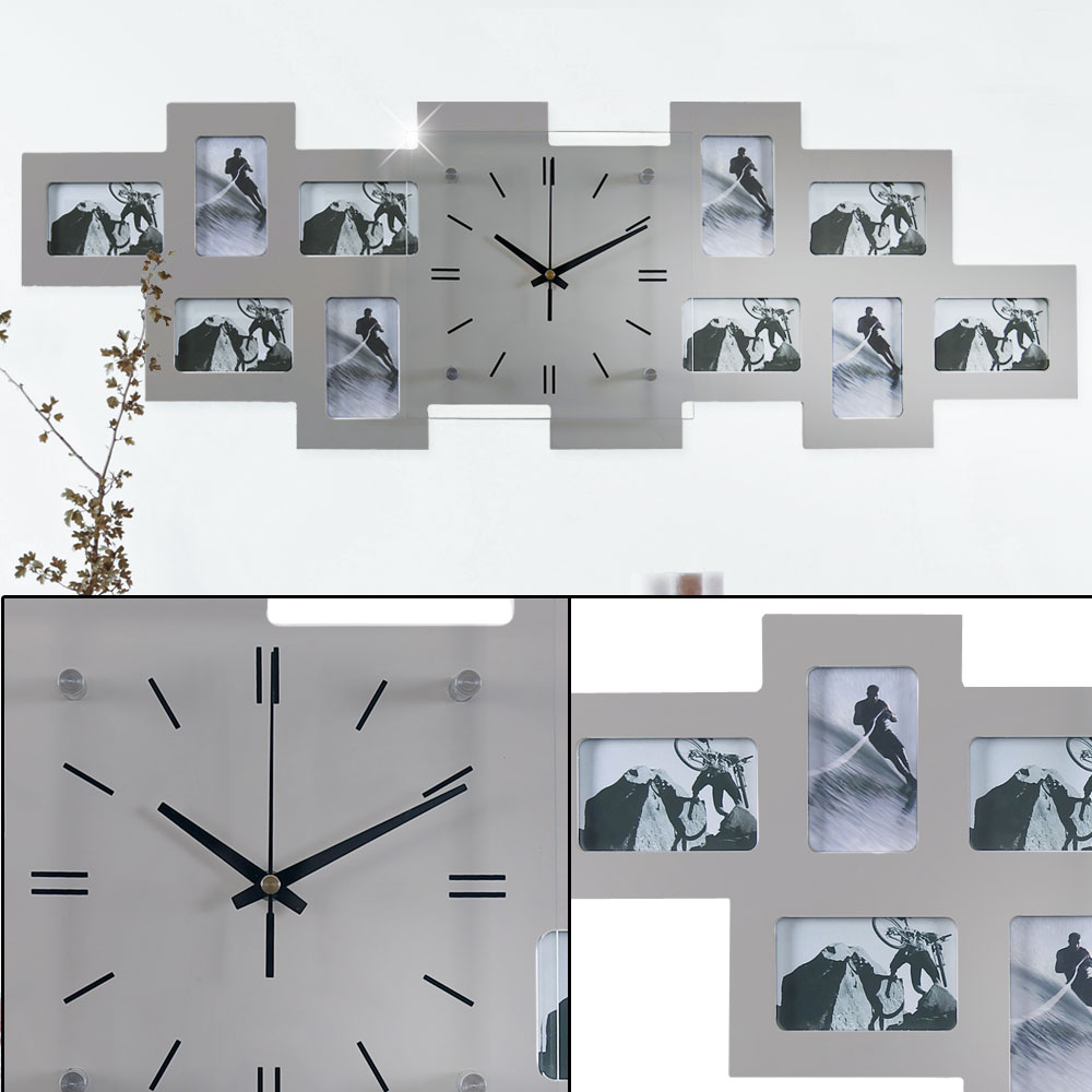 Wall clock with 10 picture frames in silver – Bild 3