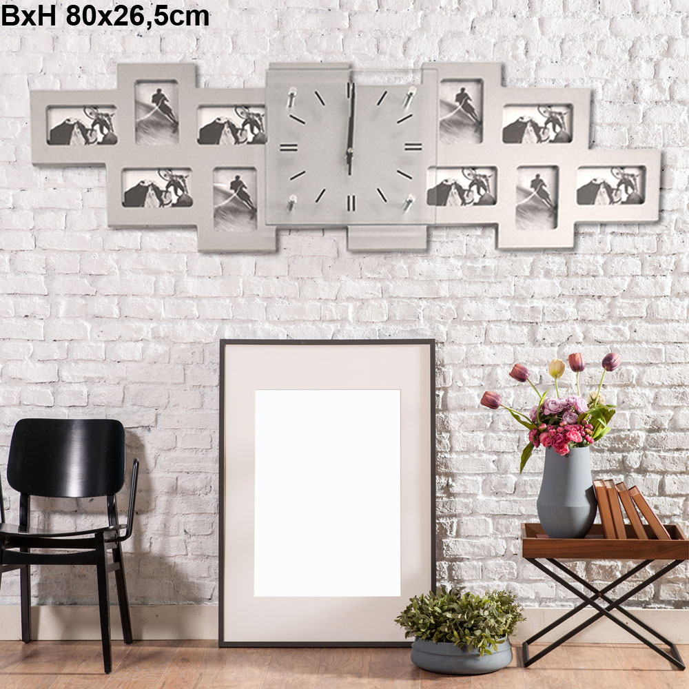 design foto wand uhr zeit anzeige analog 10x bilderrahmen deko glas big light ebay. Black Bedroom Furniture Sets. Home Design Ideas