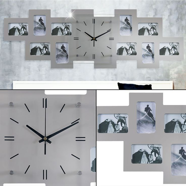 Photo Wall Clock Glass Clock Face Picture Frame Living Room Decoration Analog Time Display  BHP B991743 – Bild 2
