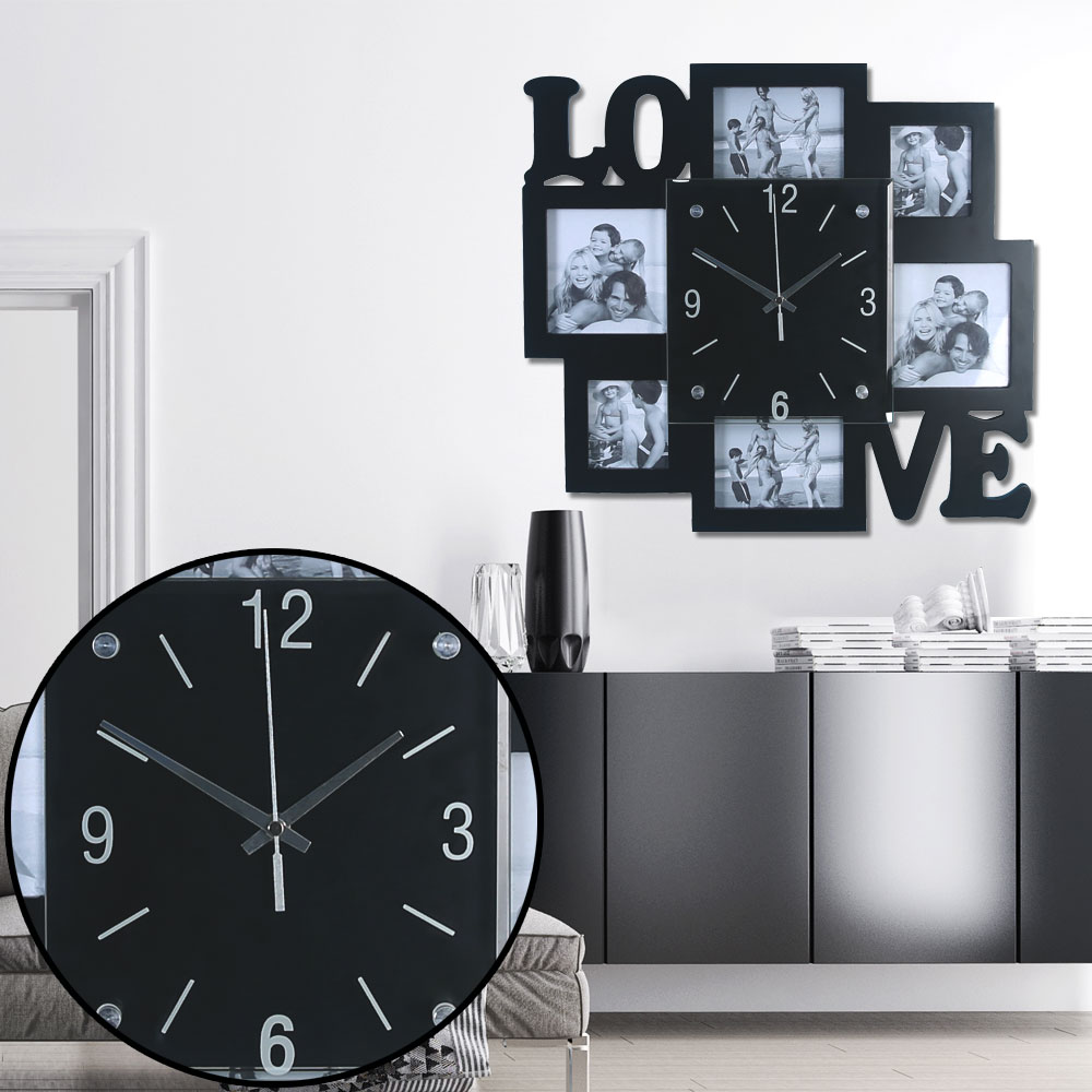 Foto wall clock with LOVE lettering in black for the living room ...