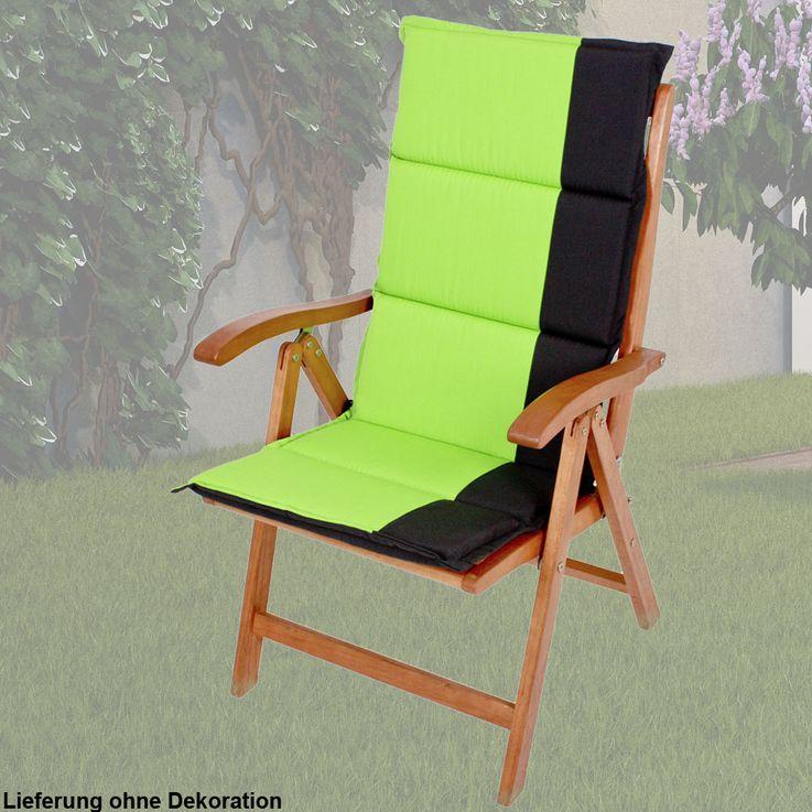 Hochwertige Hochlehner-Auflage Garten Stuhl Sitz Kissen Liege Polster Polyester Harms 910102 – Bild 2