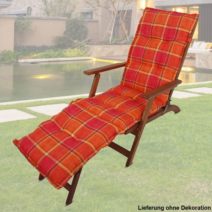 Deckchair Edition checkered orange couch upholstery polyester cotton garden furniture cushions Harms 910185 – Bild 2