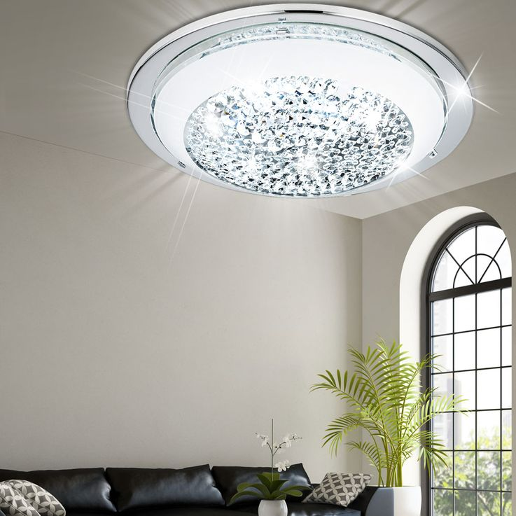 LED ceiling lamp bedroom chrome/glass wall lamp Crystal round EEK A Eglo 95639 – Bild 3