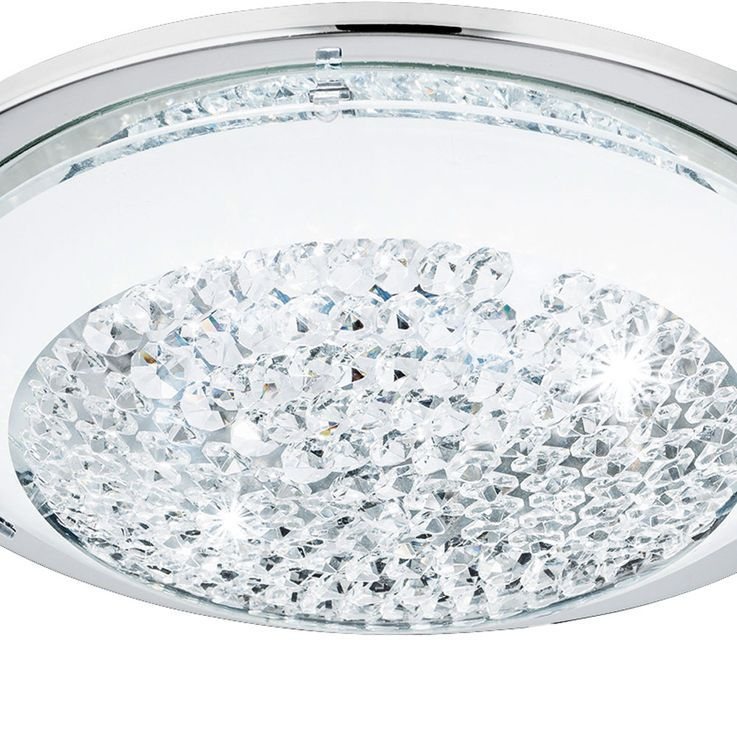 LED ceiling lamp bedroom chrome/glass wall lamp Crystal round EEK A Eglo 95639 – Bild 4