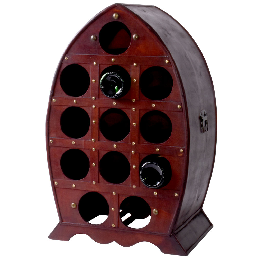 Meinelampe Kolonial Stil Weinregal In Braun Mit Platz Für 12 Flaschen