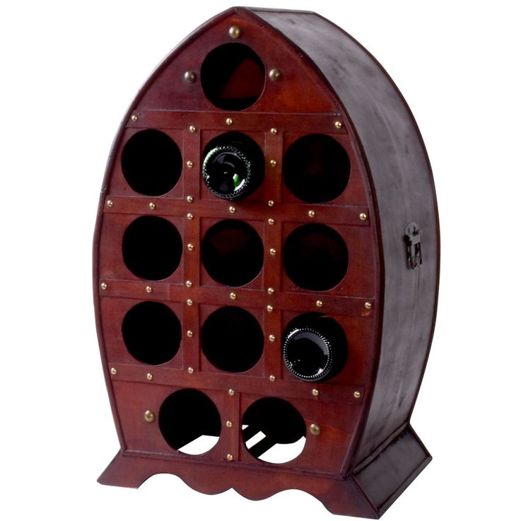 Wine Barrel Shelf 12x Bottle Holder Rustic Wood Cabinet Storage Brown Harms 304008 – Bild 1