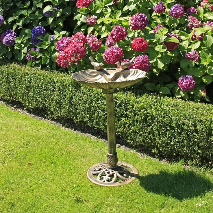 Country style bird potions garden terraces decoration bird bath shell design bronze Harm 315078 – Bild 3