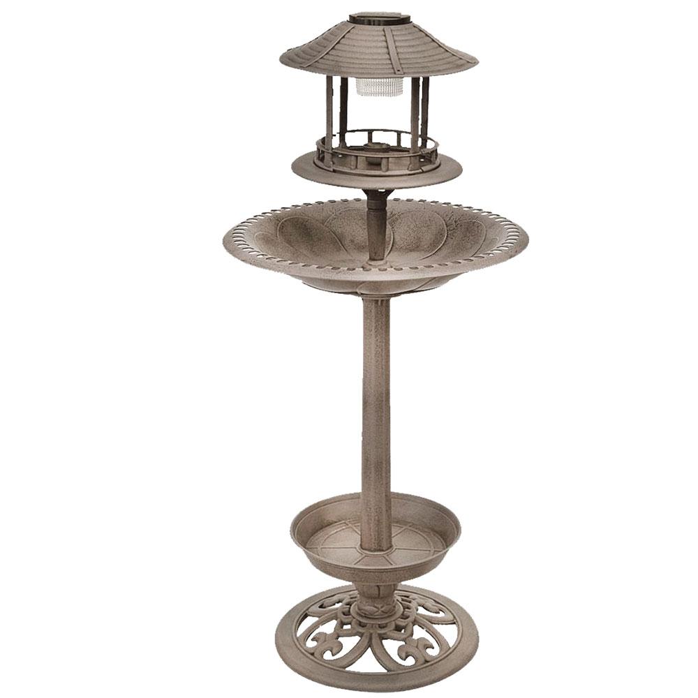 Vogeltränke mit LED Beleuchtung, Solar, Bronze, Höhe 105 cm Garten ...