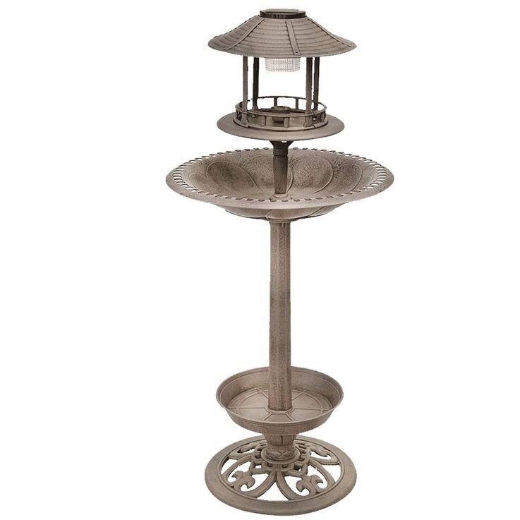 Robuste Vogel Tränke mit LED Beleuchtung Bronze Steh Lampe Dekoration Außen Leuchte Harms 315079 – Bild 1