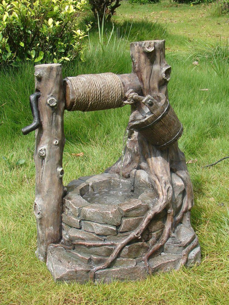 Brunnen Wasserfall PROTEUS Steinoptik mit Deko-Seilwinde aus Polyresin Outdoor 318702