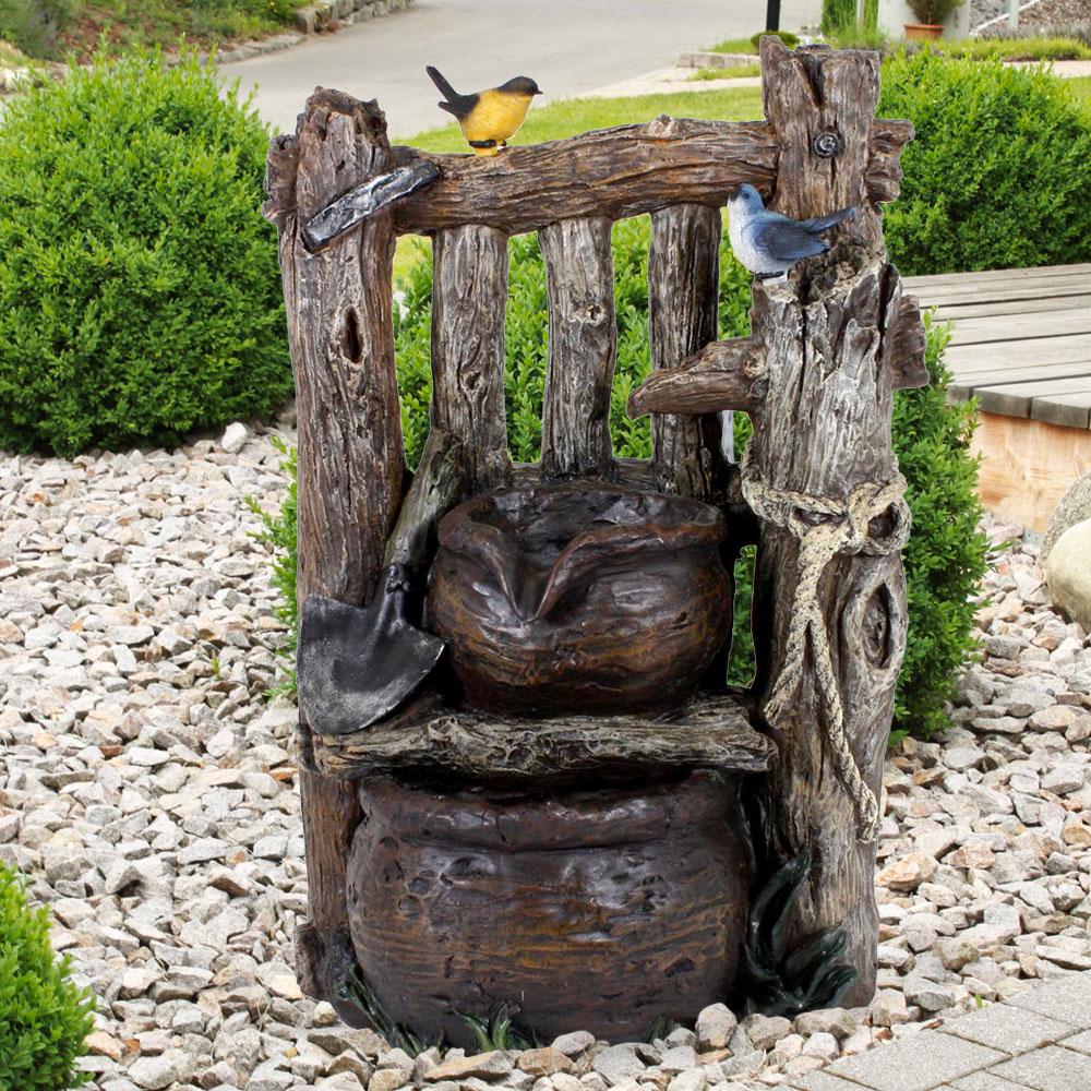 Spring Zier Brunnen Holz Optik Kaskade Hof Veranda Wasserspiel Terrassen  Garten Deko Harms 20   ETC Shop
