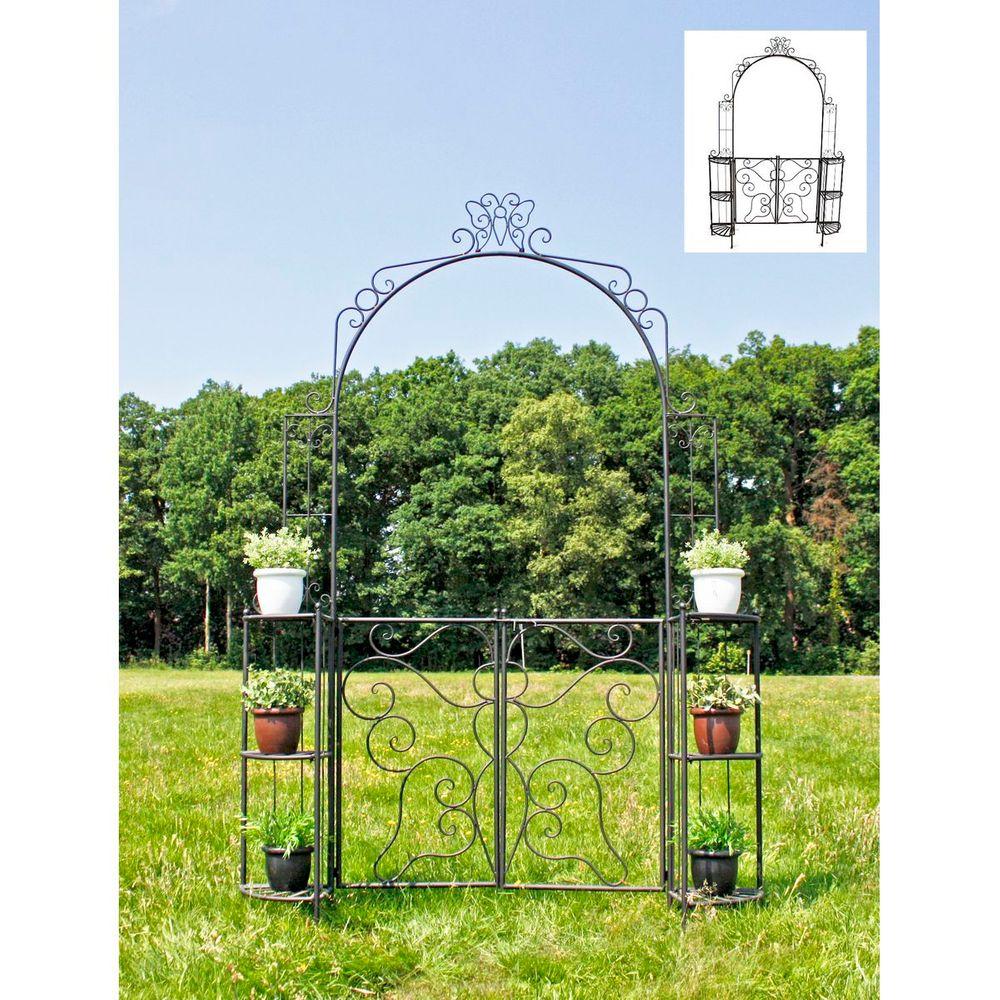 Gartendekoration - Rosenbogen LAKI mit Pforte u. Eckregalen  - Onlineshop ETC Shop