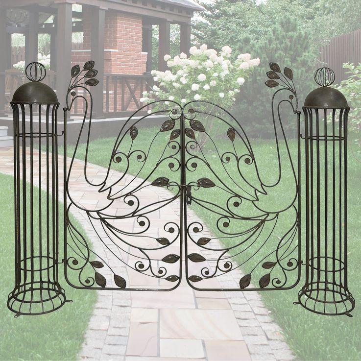 Garten Pforte Edel Rost Optik Stahl Tor Eingang Pfauen Design Harms h504870 – Bild 2