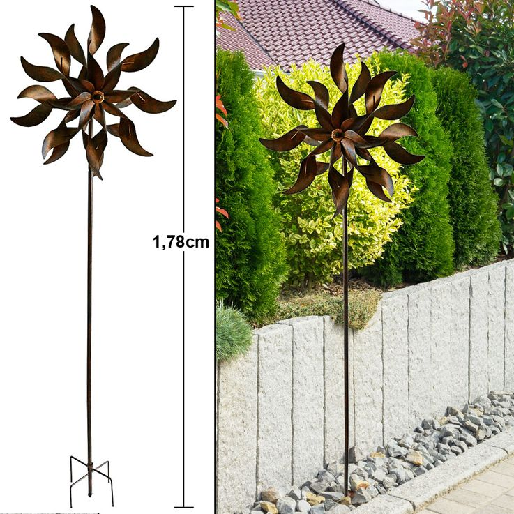 Wind Rad Spiel Garten Stecker Terrassen Dekoration Metall Erdspieß Rost Optik Höhe 178 cm Harms 504886 – Bild 2