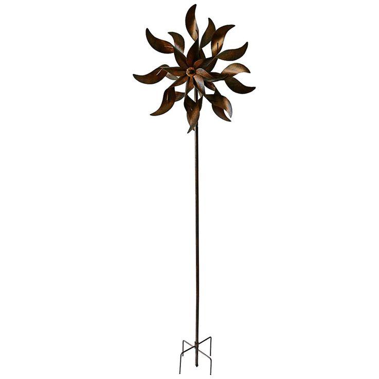 Wind Rad Spiel Garten Stecker Terrassen Dekoration Metall Erdspieß Rost Optik Höhe 178 cm Harms 504886 – Bild 1
