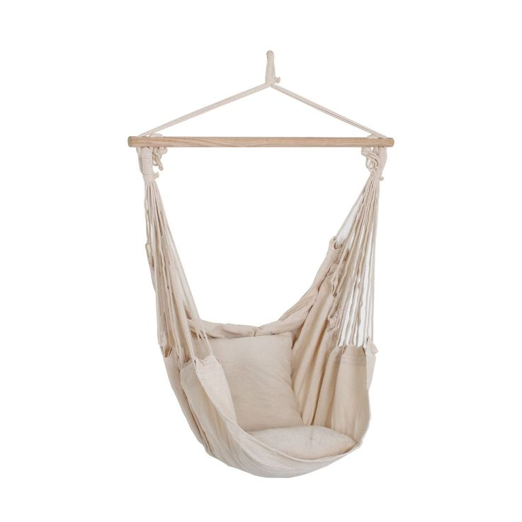 High quality blankets hanging armchair beige wood textile cotton polyester beige  Harms 507017 – Bild 1