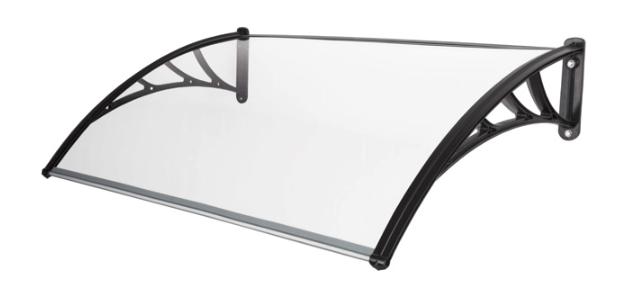 Tür Pult-Vordach 100x120 cm PC transparent Halterung PP schwarz Überdachung