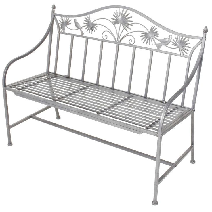 Garden seat bench iron seat opportunity outdoor balcony 2 seater powder coated silver  Harms 950363 – Bild 1