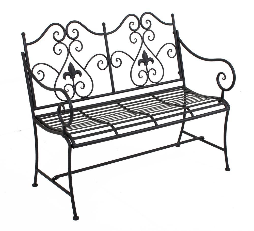 Gartenbank LANZAROTE mit Armlehne & Verzierungen Metall Rost-Optik 950395