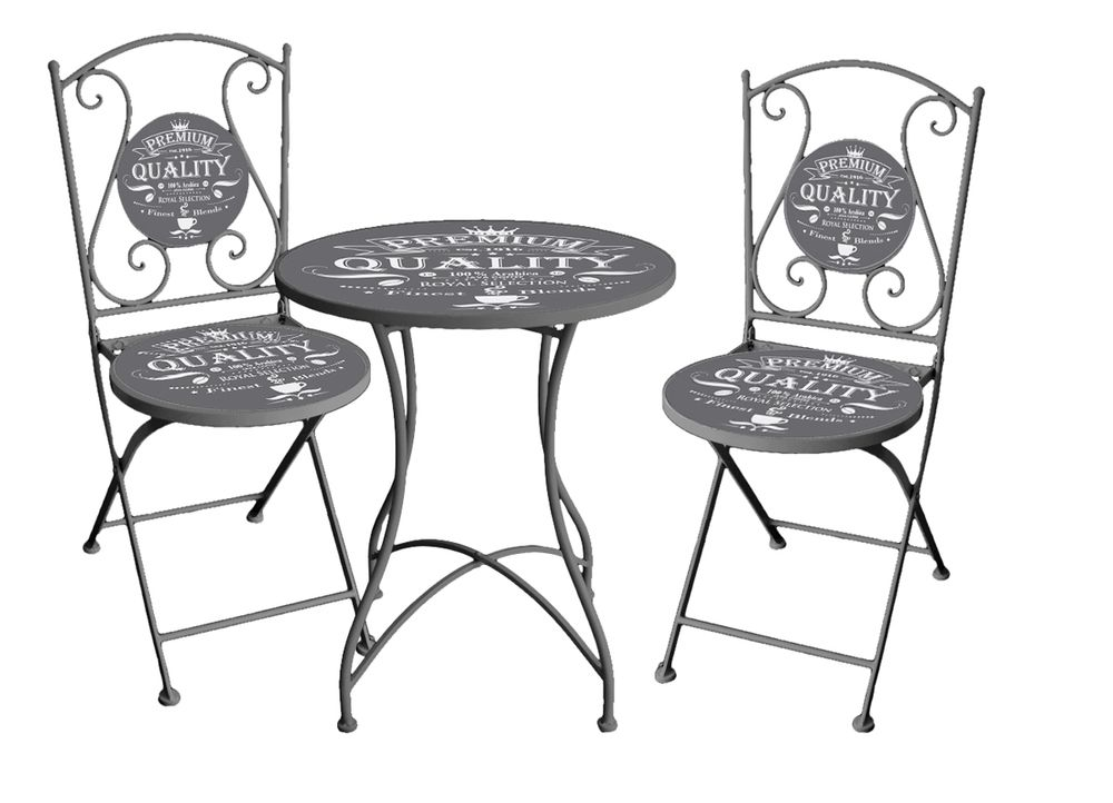 bistro set royal 3 tlg metall eigenes motiv 950399 ebay. Black Bedroom Furniture Sets. Home Design Ideas