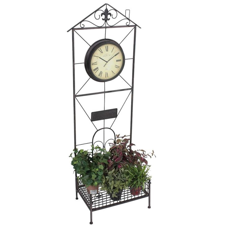 Plant Shelf Clock Flower Stand Holder Garden Outdoor Deco Rust Optic Sign Welcome  Harms 950404 – Bild 1